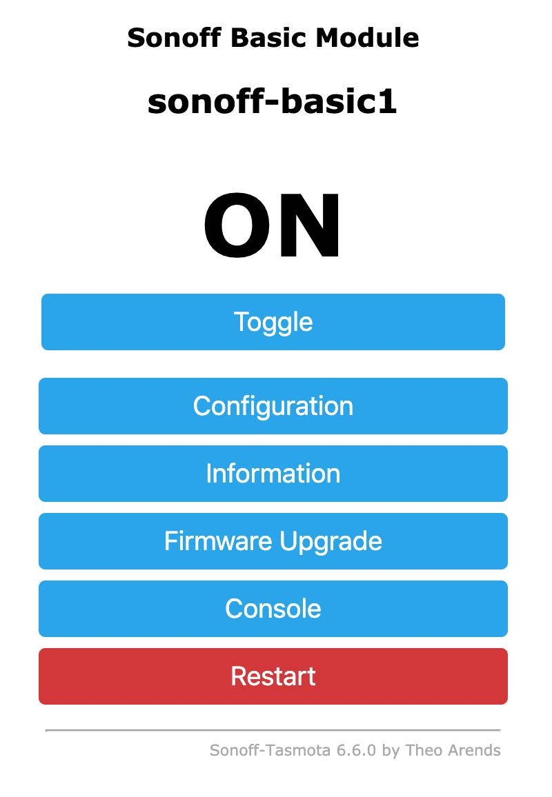 Sonoff Basic Module Flashed With Tasmota